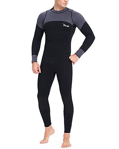 TrusMe Trajes de neopreno para hombre, 3 mm, con cremallera, para buceo, pesca submarina, snorkel, surf, buceo, negro, M