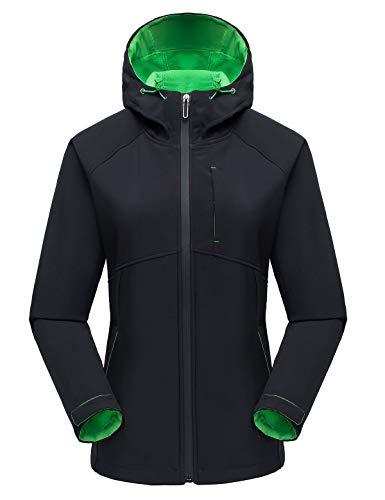 Echinodon Damen Softshelljacke mit Fleecefutter Übergangsjacke Outdoor Jacke Funktionsjacke Freizeitjacke Kapuzenjacke Schwarz 2XL