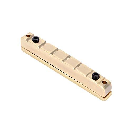 RiToEasysports Gitarrenstegmutter, 7-saitig Multiscale Gitarrenstegmutter E-Gitarren Ersatzzubehör Messing, Golden.