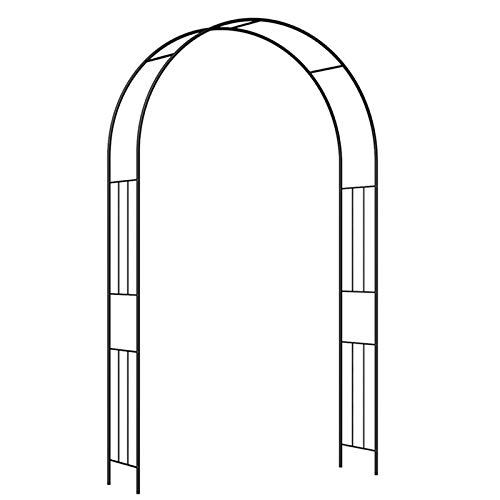 HLMBQ - Arco de pérgola de metal, enrejado de arco de jardín, 120 x 240 cm, 180 x 240 cm, arco de rosa duradero de 120 x 240 cm, arco de boda, decoración de fiesta de novia, patio trasero, color negro