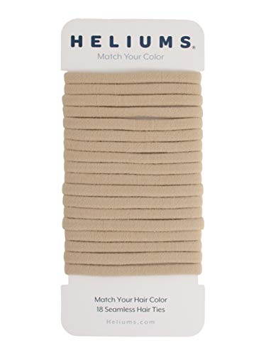 Heliums Sandy Blonde Skinny Seamless 6mm Medium Hold Soft Nylon Fabric Rolled Ponytail Holders - 18 Hair Ties