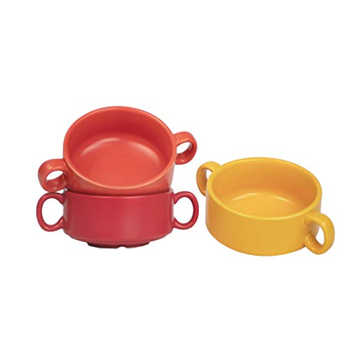 BonNoces 10 Ounce Porcelain Soup Bowls with Double Handles, Unique Matte Glazed Small Bowl Set for Soup, Salad, Chili, Cereal, and Beef Stew, Set of 3 (Yellow/Orange/Red)