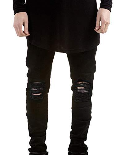 Emmay Herren Superenge Stretch Jeans Rissen Wesentlich Freizeithose Mit Am Knie In Verwaschenem Jeanshose Denim Hose Zerissene Löcher Jeans (Color : Schwarz, Size : 32)