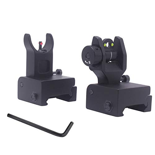 AWOTAC Tactical Fiber Optics Low Profile Flip up Iron Sight with Front Red Dot Sight and Rear Green...