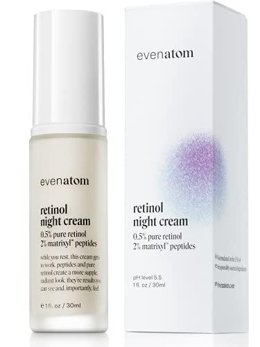 Retinol Cream for Face - 0.5% Retinol Face Moisturizer Night Cream - Anti Aging Wrinkle Cream for Face - Retinol Cream with Peptides, Green Tea & Licorice Extract- 1 fl. oz by Even Atom