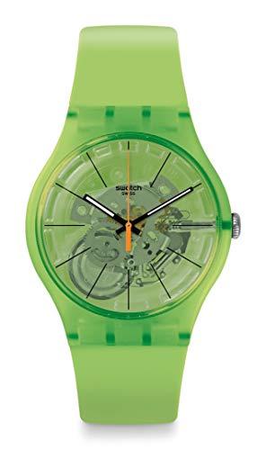 Swatch SUOG118 - Correa de silicona de cuarzo suizo, color verde, 20 relojes informales (modelo: SUOG118)