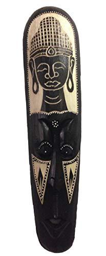 Kunsthandwerk Asien Maske Buddha aus Holz, geschnitzt, Größe 50 cm, Holz-Maske aus Bali, Wandmaske