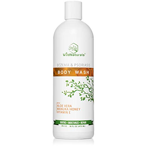 Wild Naturals Eczema Body Wash : With Manuka Honey + Aloe Vera, Soothe and Calm Itch, Dry Skin, Psoriasis Relief Soap for Sensitive Skin, Unscented, Moisturizing and Sulfate Free