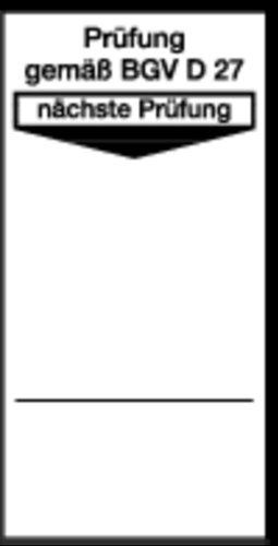 LEMAX® Grundplaketten Prüfung gemäß BGV D 27, nächste Prüfung, weiß/schwarz, 40x80mm, 100 Stück