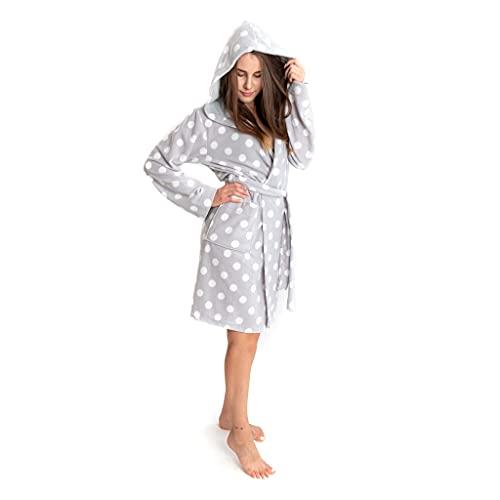 HEYO Morgenmantel Damen Fleece Bademantel mit Kapuze Tasche Kuschelig Warm (Grau - Gepunktet, M)