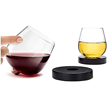 Aura Glass 14oz Stemless Aerating Wine Glasses (Set of 2) - No Spill Spinning Glass Tumblers for Red or White Wines - Includes 2 Wood Oak Coasters, Made in USA - Also Use for Scotch, Whiskey, Bourbon