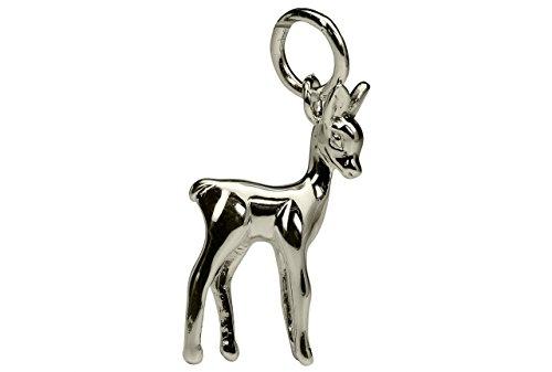 SILBERMOOS Damen Kinder Anhänger Reh Rehkitz glänzend 925 Sterling Silber/Kette optional