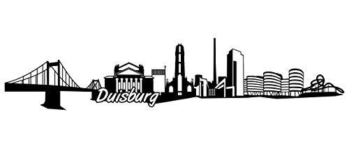 Samunshi® Duisburg Skyline Wandtattoo Sticker Aufkleber Wandaufkleber City Gedruckt Duisburg 120x26cm schwarz