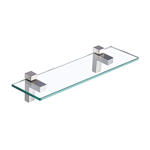Amazon Brand - Umi Glasregal Badregal Duschablage Glas 8mm Dusche Ablage Glasablage für Badezimmer Wandregal mit Regalhalter Wandmontage 40cm Gebürstet Nickel, BGS3201S40-2