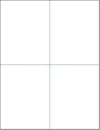 8-1/2 x 11 Blank Perforated Paper, 24# Paper Perforated in 4 pcs, 4 Per UP Page Perforated Paper - 500 Sheets/Ream, Item #1689