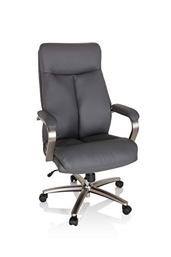 hjh OFFICE 750035 Drehstuhl XXL Grand 100 Kunstleder Grau Chefsessel bis 180kg belastbar, Kopfstütze neigbar, Wippfunktion