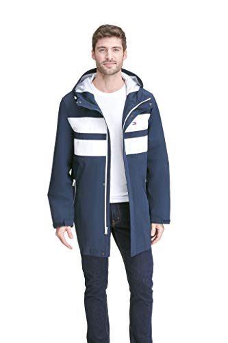 Tommy Hilfiger Men's Performance Poly Midlength Hooded Rain Jacket, Navy/White Color Block, X-Large