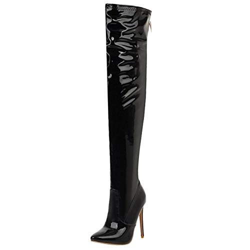 RAZAMAZA Mujer Elegante Tacón de Aguja Botas Altas Cremallera Puntiagudo Botas sobre la Rodilla Zapatos Noche Tacon Black Talla 43 Asian