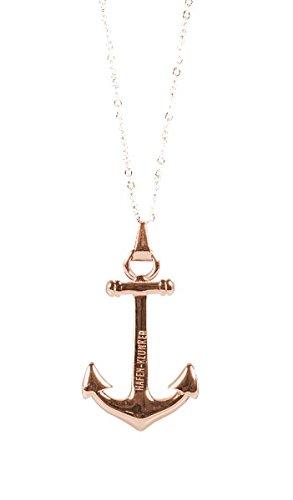Kette Damen Mit Anker Anhänger Edelstahl Rosegold Halskette (40+5 cm) Schmuck Für Frauen perfekt geeignet als Geschenk