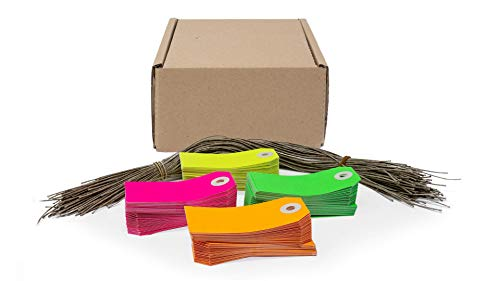 Guillaud Création – etiketten van kraftpapier, neonkleuren, oranje, groen, geel en fuchsia, 200 Amerikaanse etiketten met oogjes, 1 laars met koord van linnen – 80 x 38 mm – 185 g