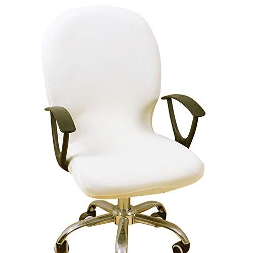 Dightyoho Funda para Silla de Oficina Elástica Universal, Cubierta de Silla de Escritorio de Ordenador Extraíble Lavable, Negro (Blanca)