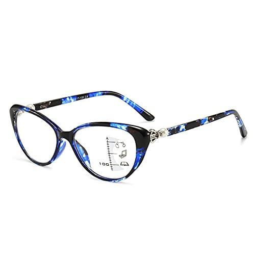 LGQ Gafas de Lectura de Moda con Forma de Ojo de Gato, Lente de Resina HD multifocal progresiva/Anti-luz Azul/anti-UV400, Montura de PC con dioptría de +1,00 a +3,00,Azul,+2.50