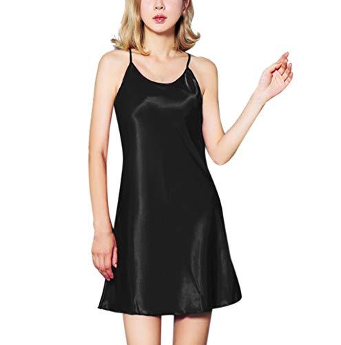 Vêtements de Nuit,LONUPAZZSexy Femme Lingerie Erotique Satin Couleur Unie Chemise De Nuit Lingerie Babydoll sous-vêtement Temptation Nightwear Robe Grande Taille S-XXXL