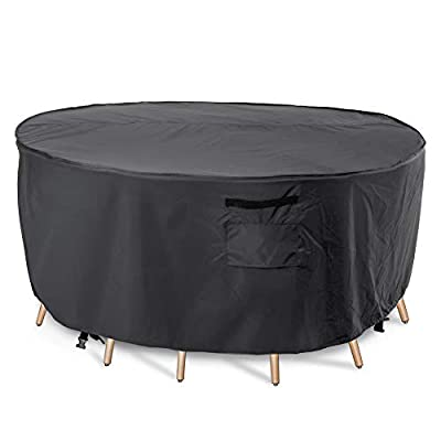 Patio Furniture Cover, Waterproof, Tear-Resistant, UV Resistant Outdoor Round Table Chairs Dining Set Cover, 110 inch Diameter