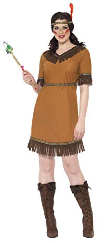 Indianische Frau Kostüm Braun mit Kleid Gürtel und Stirnband      , Medium