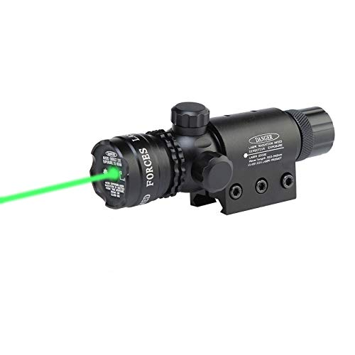 Tactical Green Laser Sight Dot Rifle Gun Scope with Picatinny Rail Mount- Include Remote Pressure Switch, Ring Adapter, Battery Wrench