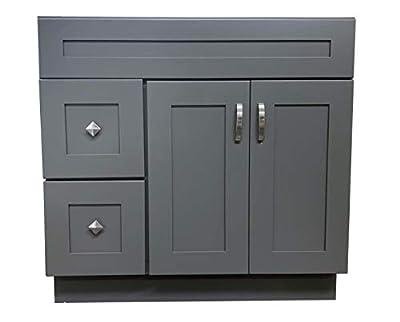 "Grey Shaker Single-Sink Bathroom Vanity Base Cabinet 36"" Wide x 21"" Deep GS-V3621D"
