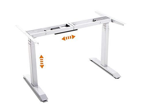 moebel-eins Office One Elektrisch höhenverstellbares Tischgestell Memory-Steuerung für alle gängigen Tischplatten mit Softstart/-Stop, Weiss