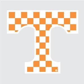 Tennessee Volunteers Checkered POWER T Logo 12' Vinyl Decal UT Car Truck Window Sticker