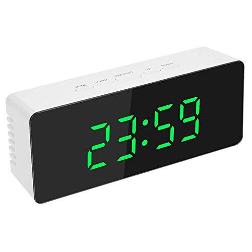 Reloj Despertador con Espejo Relojes Despertadores Led Portátiles con Espejo Reloj Despertador Digital HD, Reloj De Mesa Reloj De Viaje con Pantalla Grande Pantalla 12 / 24H, Puerto USB para Teléfono