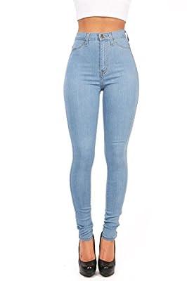 Ferbia Womens Juniors Classic High Waisted Denim Skinny Jeans Pencil Pants