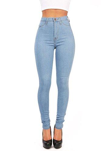 Hooleeger Damen High Waist Jeans Skinny Stretch Regular Fit Basic Jeanshose Hellblau Herstellergr