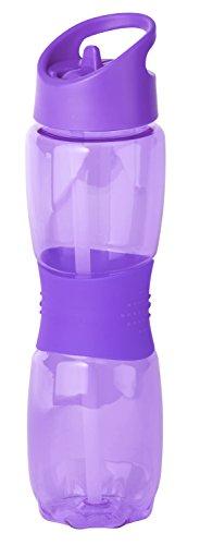 Thermo Rex Trinkflasche Grip | 800ml | lila | BPA-freier Kunststoff | nahezu bruchsicher u wiederverwendbar | mit integriertem Strohhalm | Wasserflasche