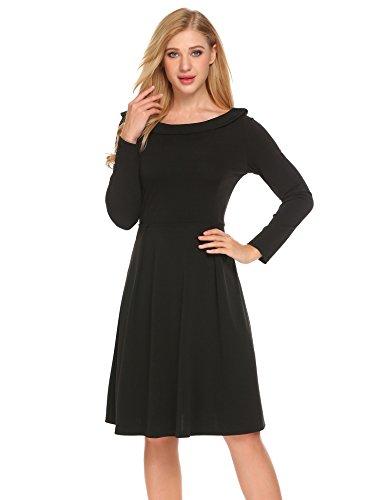 Meaneor elegancka sukienka damska, z długim rękawem, sukienka wieczorowa, do kolan, na imprezę