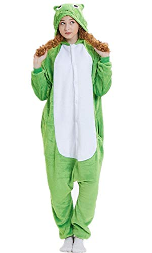 ABYED® Kostüm Jumpsuit Onesie Tier Fasching Karneval Halloween kostüm Erwachsene Unisex Cosplay Schlafanzug- Größe L-für Höhe 164-174CM, Frosch