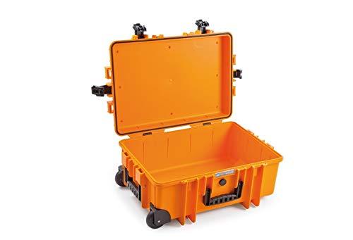B&W Outdoor Case Hartschalenkoffer Typ 6700 leer (Hardcase Koffer IP67, ohne Inhalt, wasserdicht, Innenmaß 53,5x36x22,5cm, Orange)
