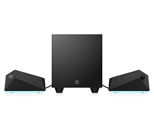 HP - Gaming Speakers X1000, Altoparlanti e Subwoofer, Potenza 30 W RMS, Regolazione Illuminazione (con OMEN Command Center) e Equalizzazione, Compatibile Tablet o Smartphone, AUX 3.5 mm, USB, Nero
