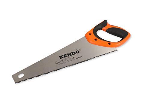 KENDO Fuchsschwanz Säge 350 mm – 7 Zähne/Zoll – Handsäge Holz – FastCut – mit ergonom. Bi-Materialgriffen – Holzsäge mit gehärteter, dreifach geschliffener Verzahnung