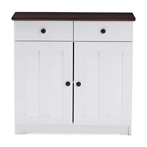 Baxton Studio Wholesale Interiors Lauren Two-Tone Buffet Kitchen Cabinet with Two Doors and Two Drawers, White/Dark Brown