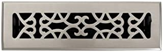 2-1/4 x 10 Brushed Nickel Traditional Floor Register Vent Cover Grille with Damper