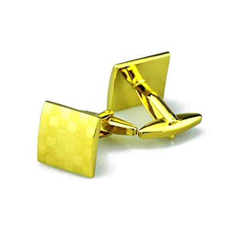 KnBoB Herren Manschettenknöpfe Quadrat Gitter Gold Manschettenknöpfe Smoking Hemden Geschäft Hochzeit Zubehör Geschenk für Vater Mann Sohn