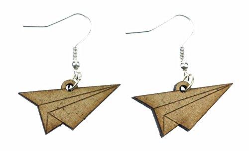 los pilotos de aviones de papel suspensión de los pendientes Miniblings aviones de origami madera cortada con láser