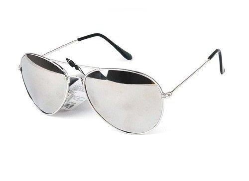 Qwin - Gafas de sol, diseño de aviador, montura plateada y cristales con efecto espejo