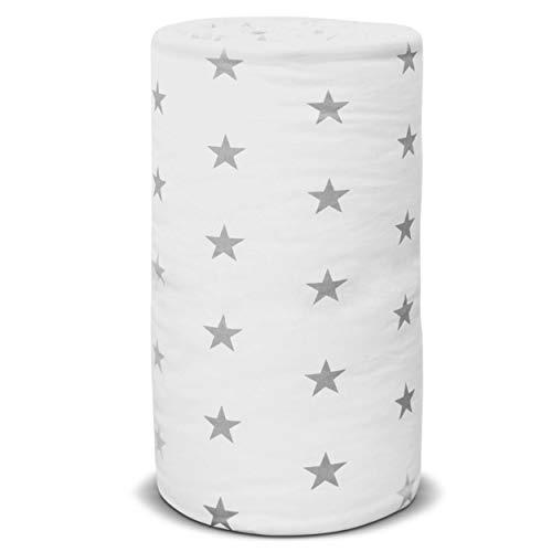 E4M Protector para cuna de bebé de 3 lados, tamaño 210 x 30 cm, doble relleno hipoalergénico, algodón, certificado Oeko-Tex, fabricado en la UE (White Stars)