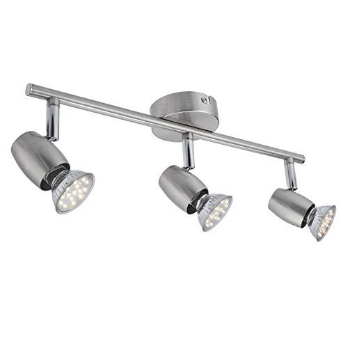 LED Deckenstrahler 3- Flammig, Dreh- und schwenkbar LED Deckenleuchte, inkl. 3 x 3W GU10 LED Leuchtmittel, 250LM,Warmweiß,Modern LED Strahler Deckenlampe - Matte Nickel [Energieklasse A+]