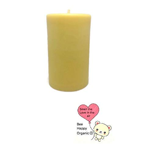 Pure Golden Yellow Handmade 100% Natural Triple Filtered Raw Beeswax Pillar Candle 14.5oz Smokeless Eco Friendly Long Burning 60-90 Hours Size 2.75inch wide x 4.6 inches tall